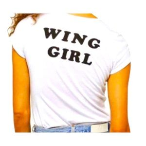 Project Social T Short Sleeve White Front, Back Says Wing Girl In Black, Size XS